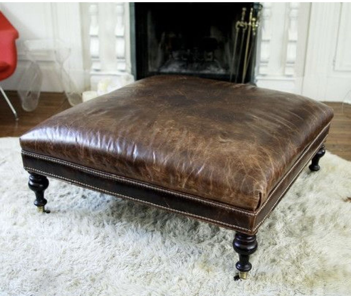 Beautiful Square Leather Ottoman 6