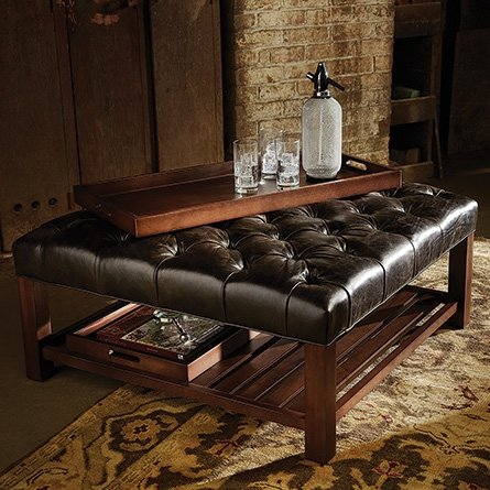 Square Leather Tufted Ottoman. Tufted Coffee Table Ottoman