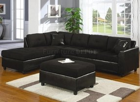 Suede and leather sectional