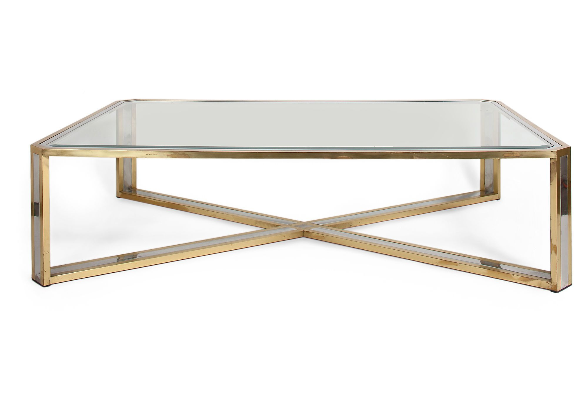 vintage Brass coffee glass table