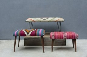 Vintage fabrics create truly unique upholstered benches steel hairpin legs