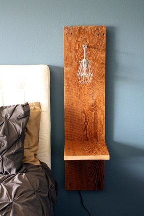 Wall mounted nighstand reclaimed wood