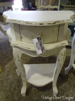 White shabby chic bedside table