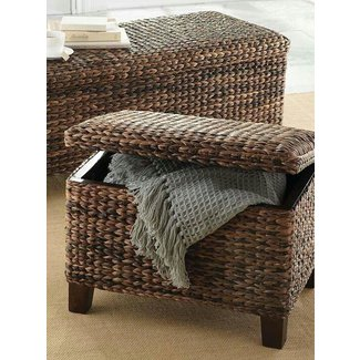 Wicker storage ottomans