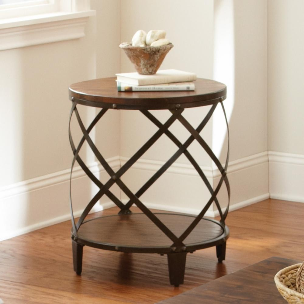 Windham Solid Birch Iron Round End Table