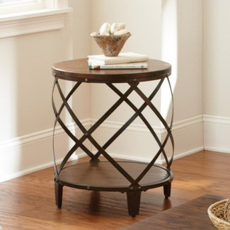 Windham solid birch iron round end table 2