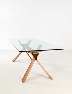 Wood glass dining table
