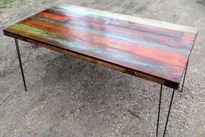 Wood top coffee table metal legs 1