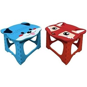 2 FineLife Step Easy Foldable Kids Stool Animal Bedroom Bathroom Holds 200lbs Blue Dog Red Fox