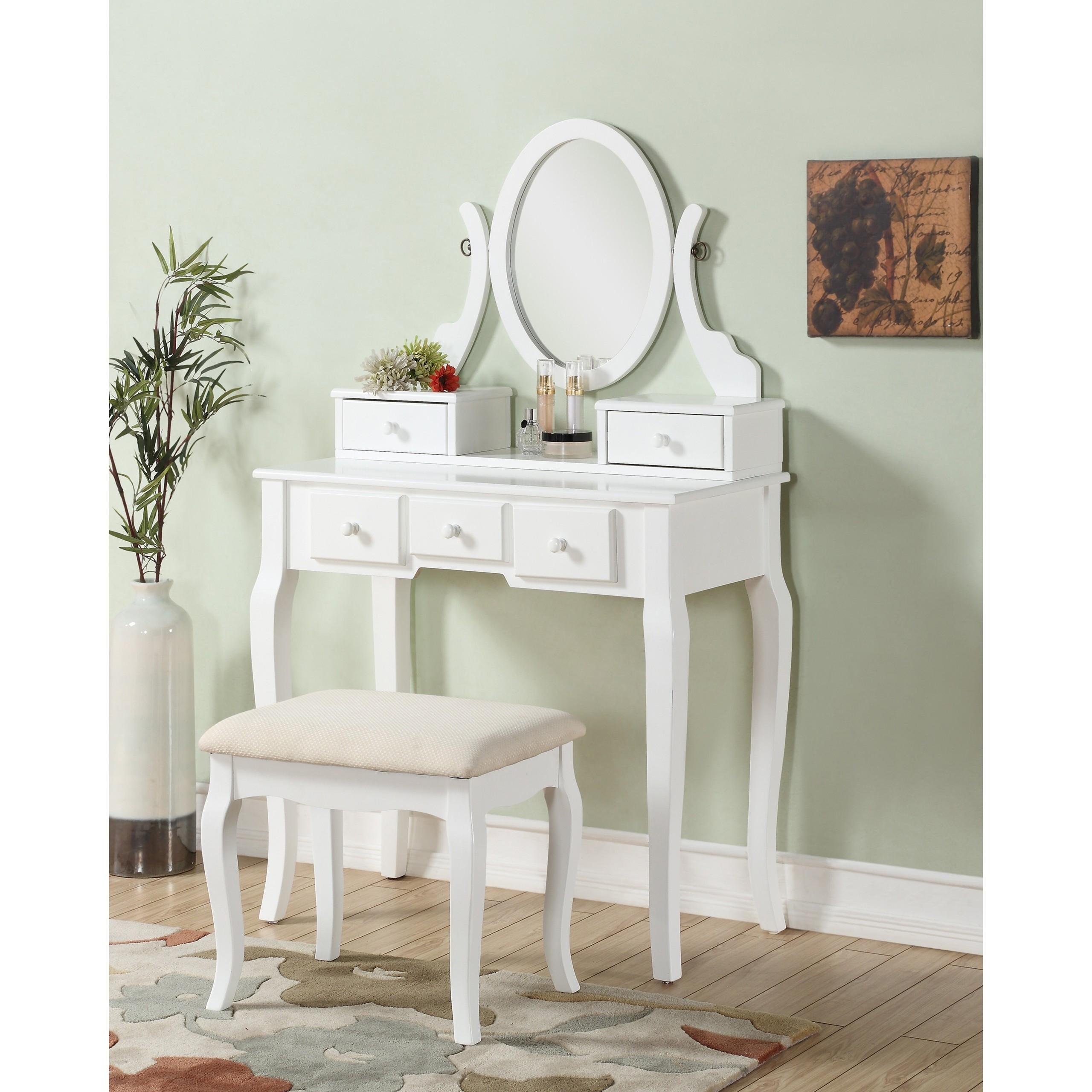 Ashley Wood Makeup Vanity Table And Stool Set , White