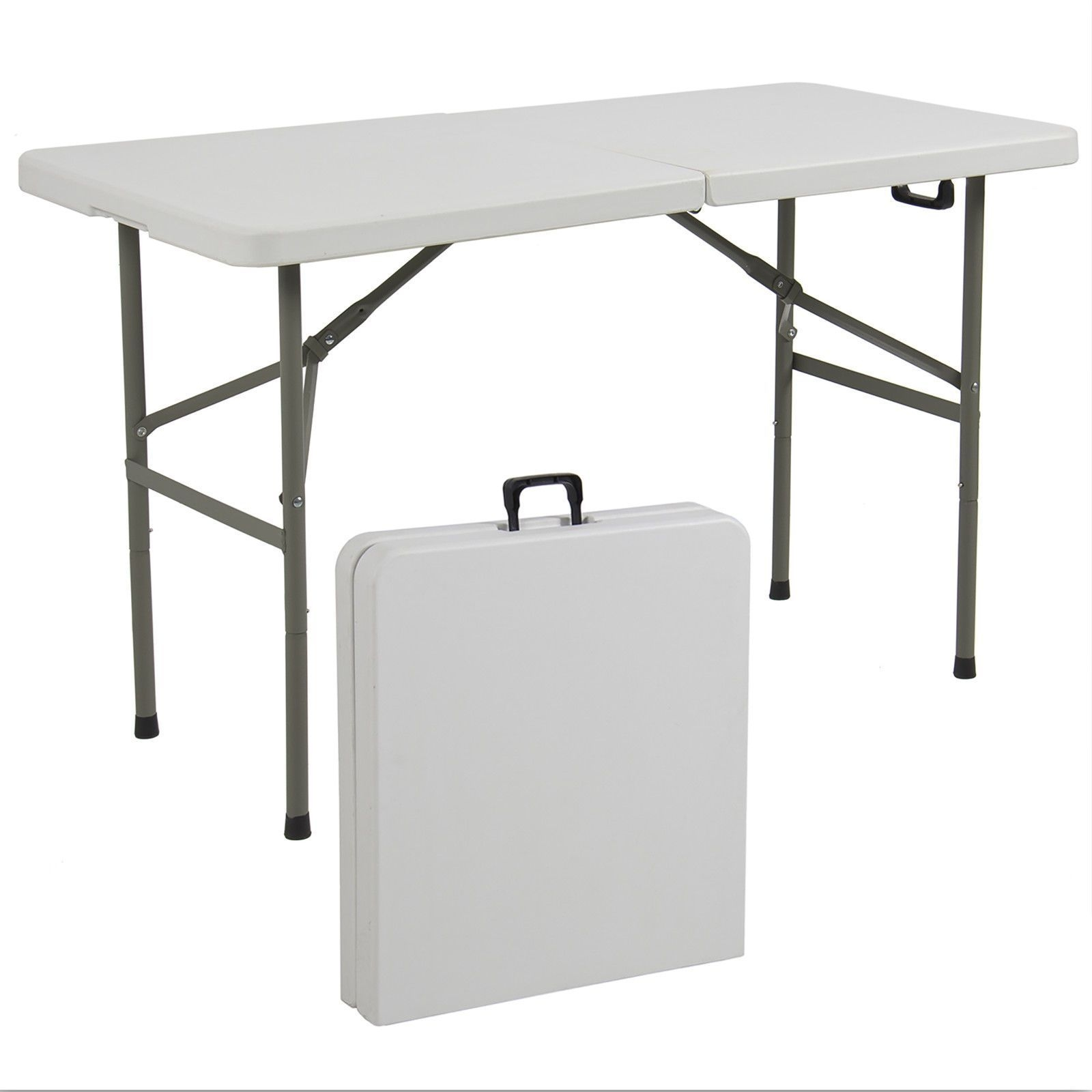 Best Choice Products® 4' Multipurpose Utility Center-Fold Folding Table w/ Carrying Handle - White Granite Top Color w/ Gray Frame
