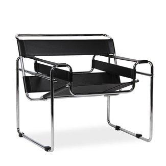 Black Leather Mid-century Chair Contemporary Modern Steel Chrome and Bonded Leather with Dramatic Top Stitching. This Ultra Modern Accent Chair in the Modernist Traditional Wassily Chair Has Timeless Beauty to Please Your Decor Palette!