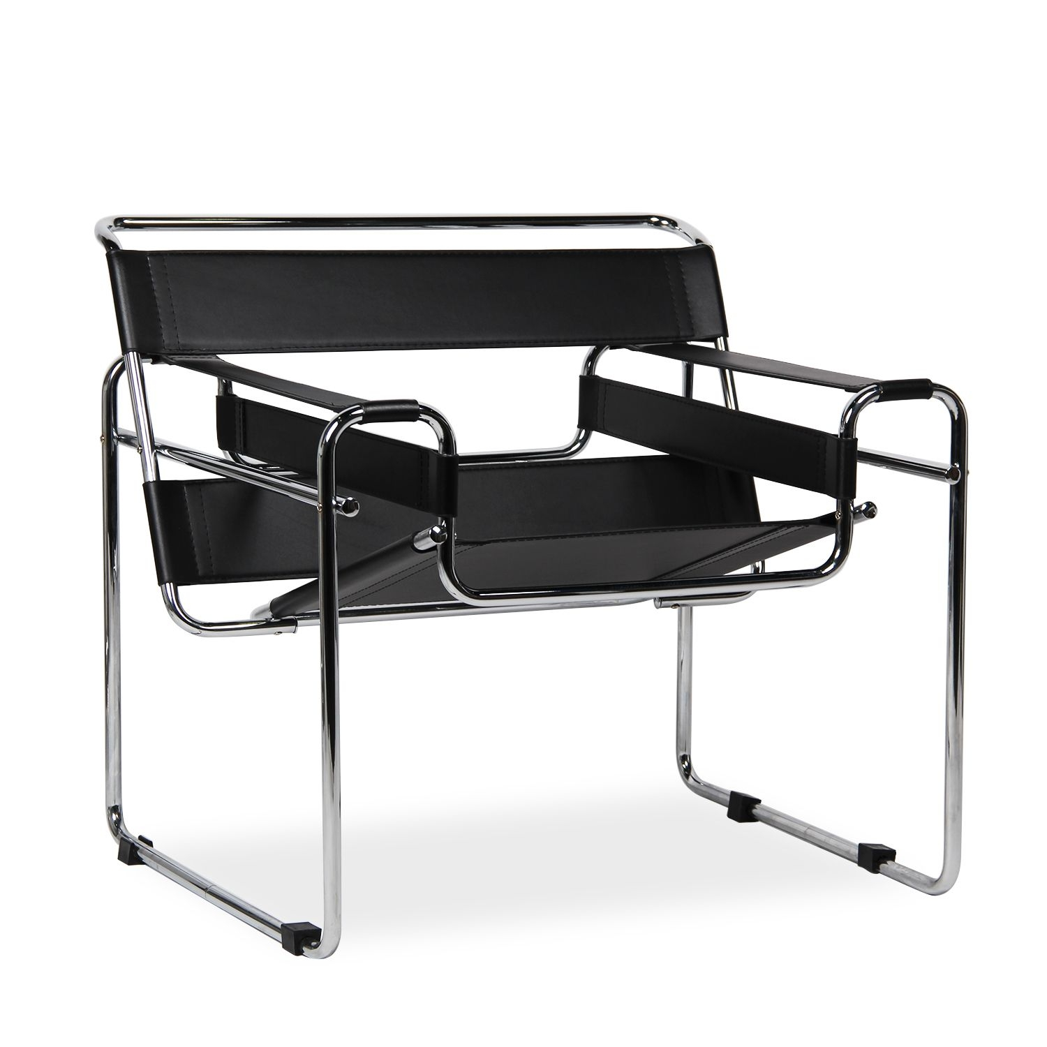 Black Leather Mid Century Chair Contemporary Modern Steel Chrome And Bonded  Leather With Dramatic Top