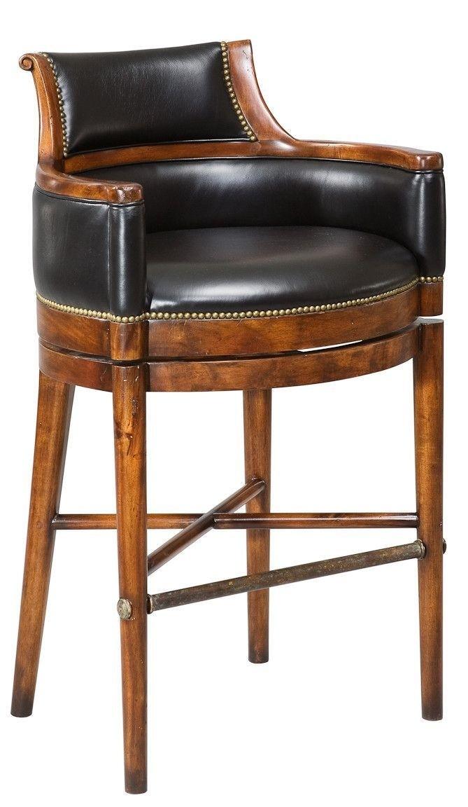 Black Leather Swivel Bar Stool 1