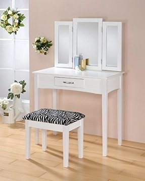 tri fold mirror vanity set. Contemporary Vanity Set with Tri  Fold Mirror and Zebra Print Stool in White Finish Foter