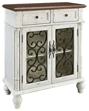 Delphina 2-Drawer 2-Door Distressed White Chest