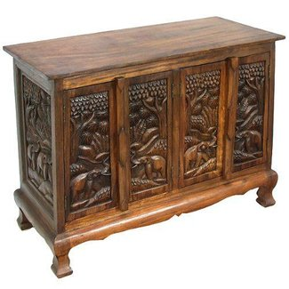 Exp 39-Inch Handmade Royal Elephant Storage Cabinet/Sideboard Buffet, Dark Brown