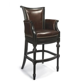 Frontgate Leather Bar Stools Black With Red Traditional