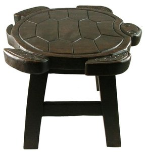 Hand Carved Sea Turtle Stool in Dark Stain Finish