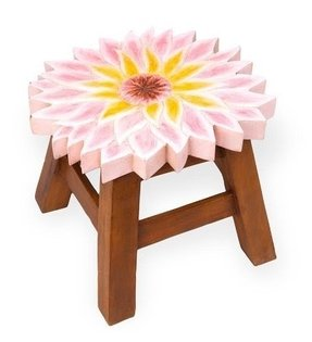 Hand-Carved Wooden Footstool, in Pink Dahlia