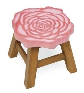 Hand-Carved Wooden Footstool, in Rose