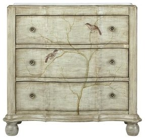Hand painted Bird Chest, 3-DRAWER, PEWTER