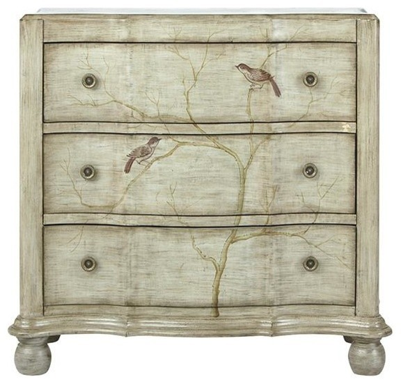 Hand Painted Bird Chest, 3 DRAWER, PEWTER
