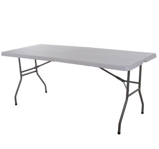 HomCom 6u0027 Multipurpose Utility Center Fold Folding Table W/ Carrying Handle    White