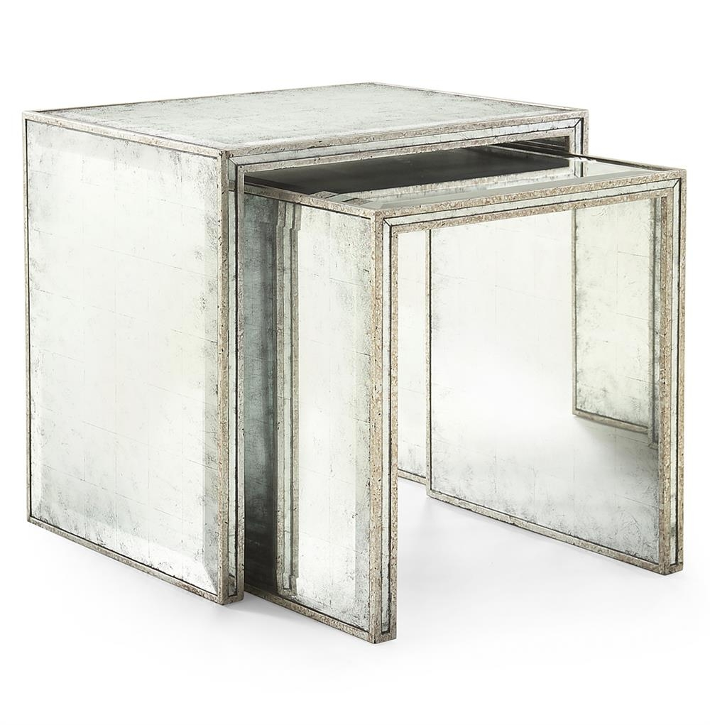 Jasmine Hollywood Regency Silver Leaf Mirror Nesting Side End Table   Set  Of 2