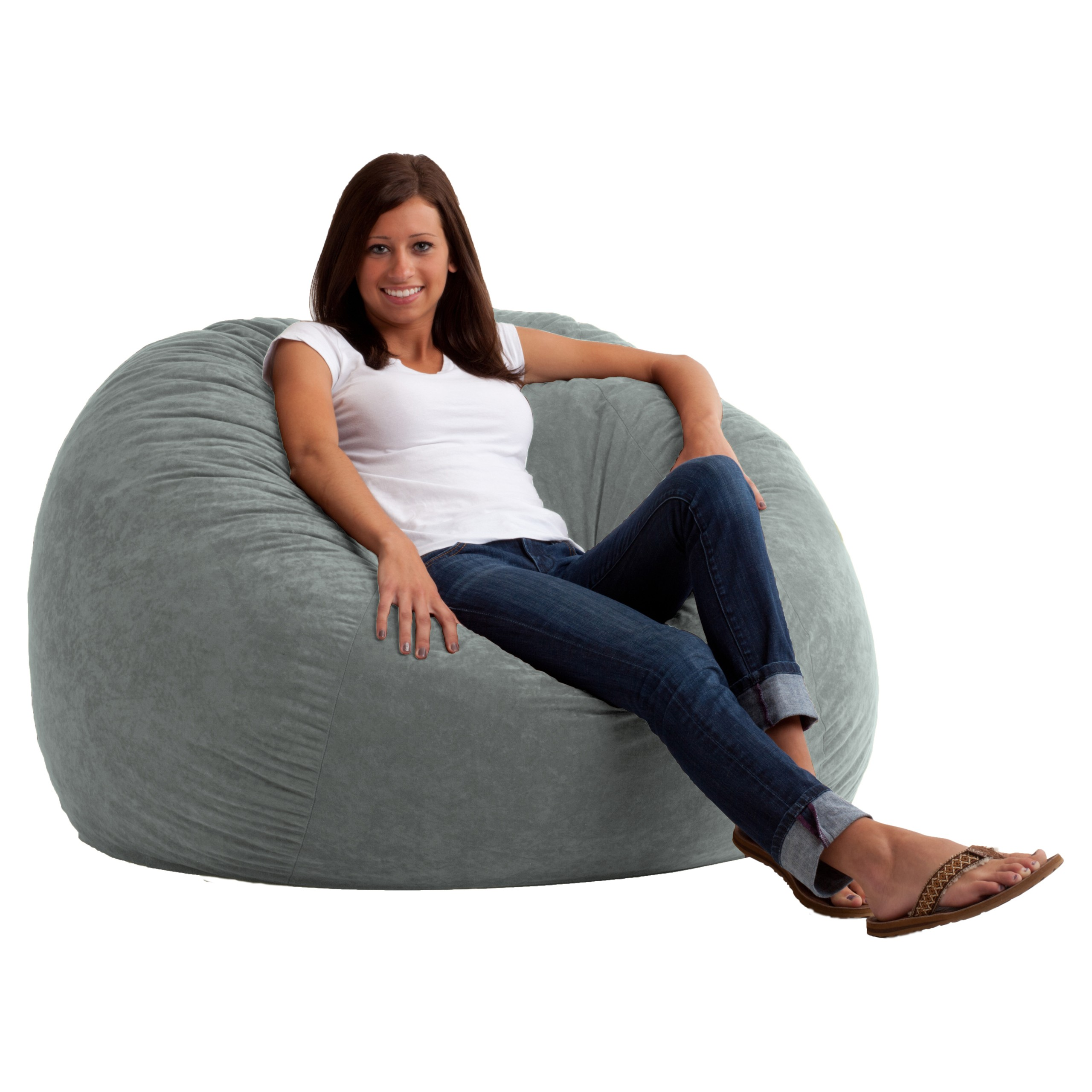 Large 4u0027 Fuf Comfort Suede Bean Bag Chair Black Onyx   Soft Durable  Comfortable Seating