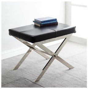 Modern Black Leather Upholstered and Chrome X Base Accent Bench Stool Ottoman Footrest