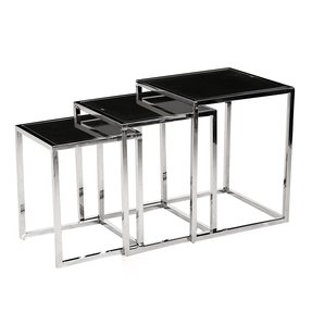Modern Chrome Frame Nesting Table Set With Black Gl 3pc Square