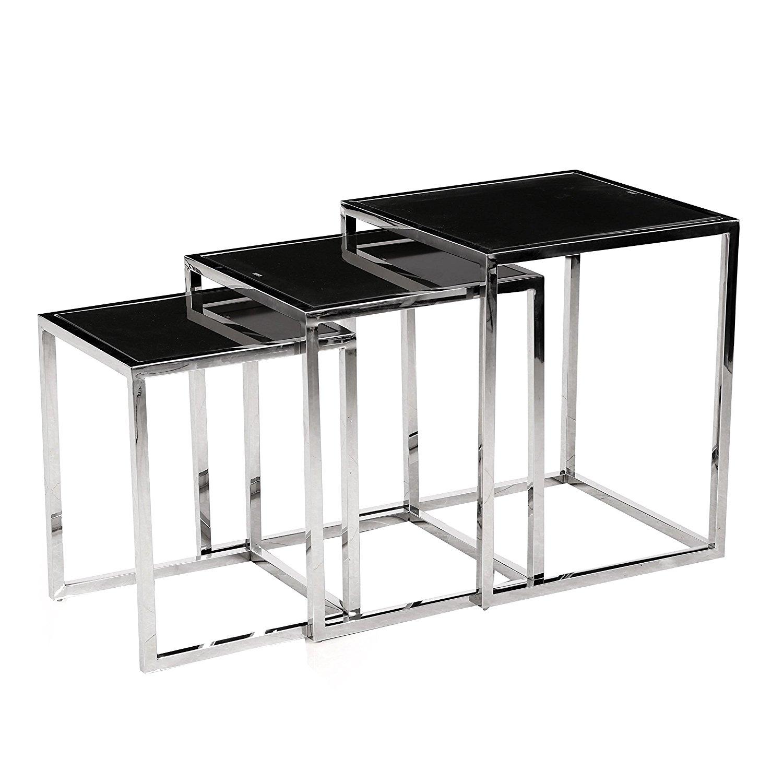 Awesome Modern Chrome Frame Nesting Table Set With Black Glass   3pc Set (Square  Frame)