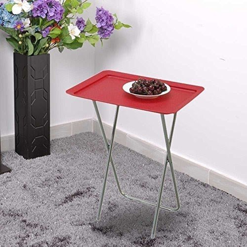 New 2pcs Furniture Folding Design Fruit Table Desk Metal Tube Sturcture  With PP Plastic Table Top
