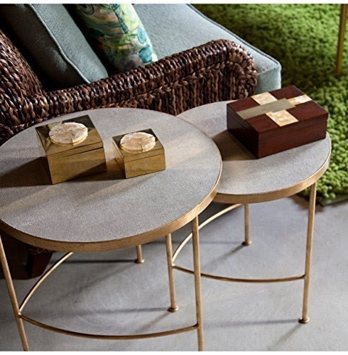 Olivia Hollywood Regency Faux Shagreen Taupe Gold Nesting Tables   Set Of 2