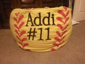 Personalized softball bean bag chair w