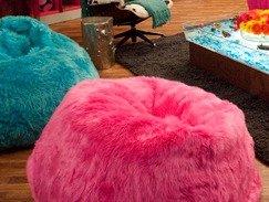 Pink Fluffy Bean Bag