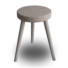 Rustic Style Unfinished Ash Colored Solid Wood All Purpose Sitting Stool