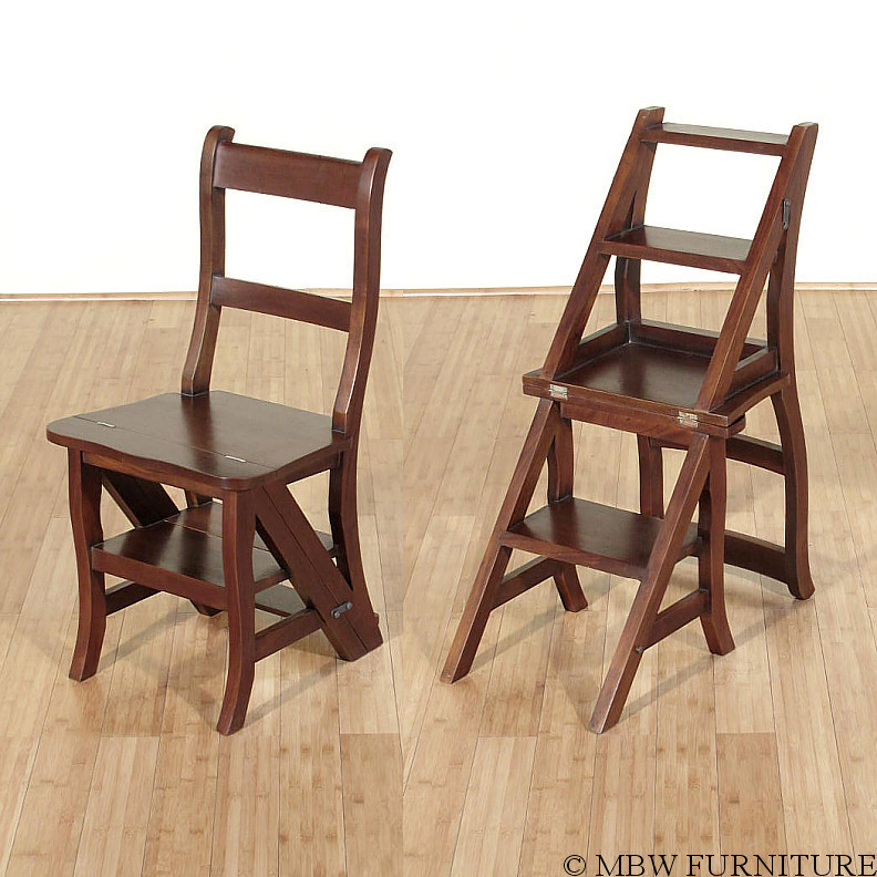 Beau Solid Mahogany Convertible Ladder Chair Library Step Stool