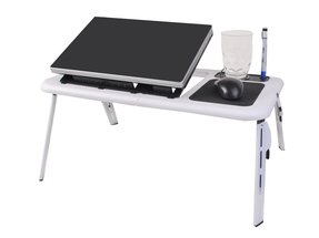 Super buy Foldable Laptop Table Tray Desk W/Cooling Fan Tablet Desk Stand Bed Sofa Couch