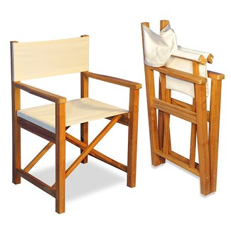 Teak Directors Chair Pair - Sunbrella fabric