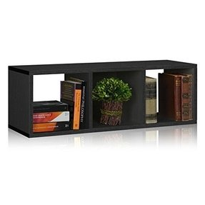 Way Basics Eco 3 Cubby Storage Bench and Stackable Organizer, Black (made from sustainable non-toxic zBoard paperboard)
