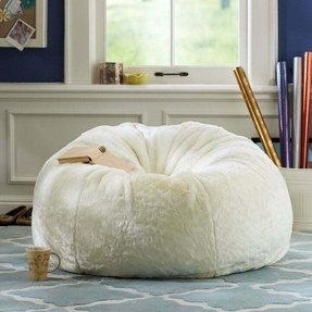 White fluffy bean bag