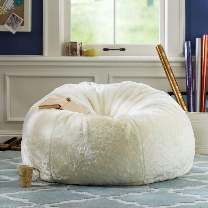 Merveilleux White Fluffy Bean Bag