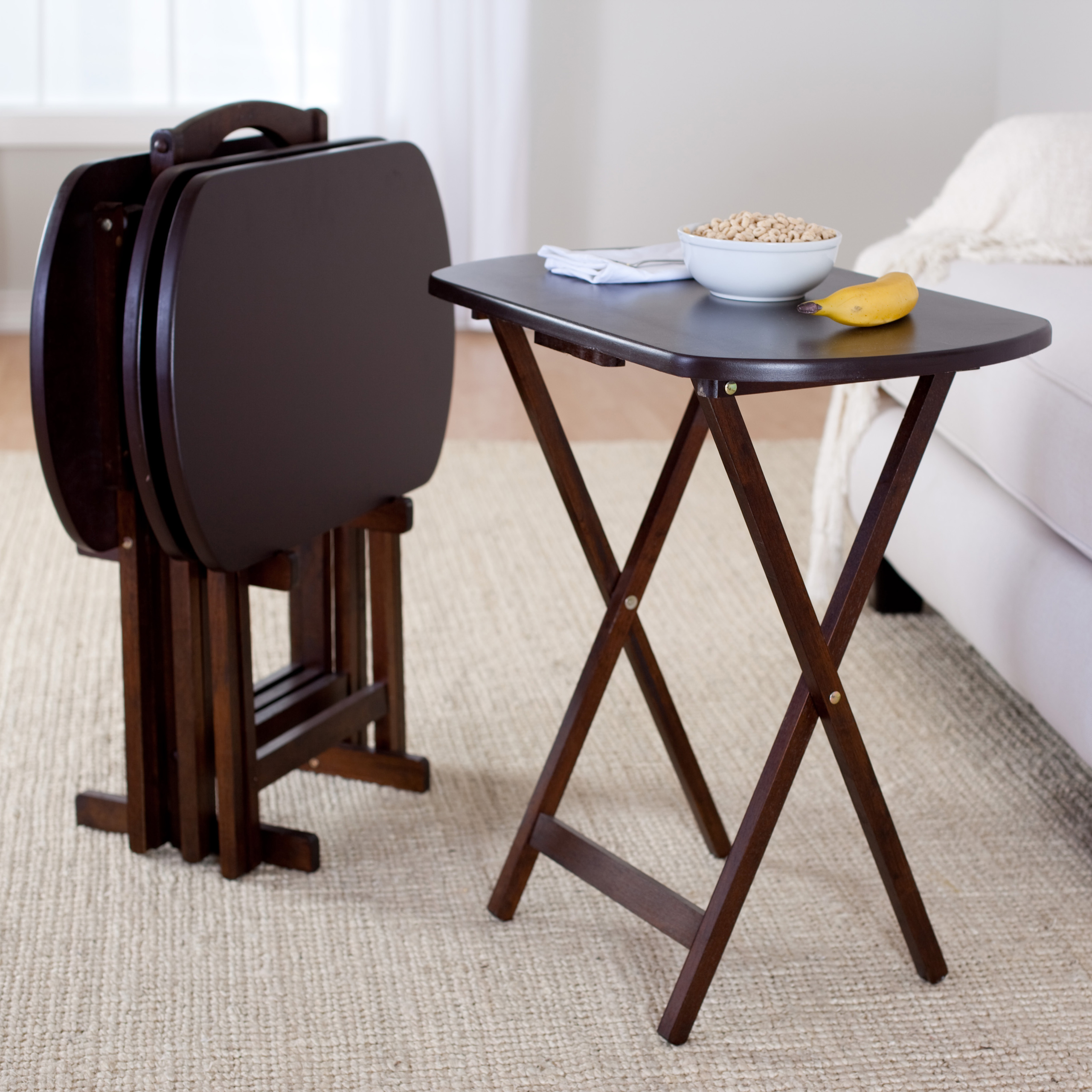 Winsome Trading Winsome 5-Piece Oblong TV Table Set & Folding Snack Tables With Stand - Foter
