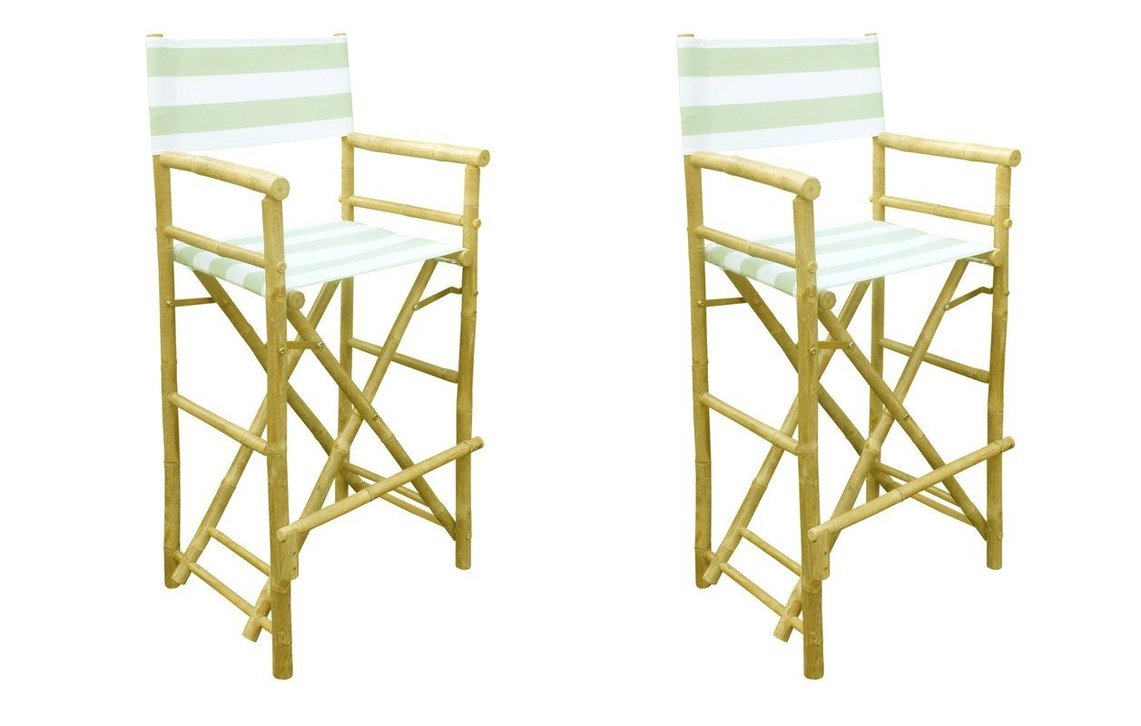 Zew Bamboo 29 Inch Bar Height Directors Chair With Striped Cover, Celadon  Stripes, Canvas