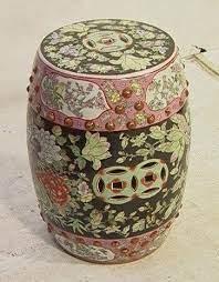 Beau 487 Ceramic Pottery Asian Garden Stool Seat Paint De Lot
