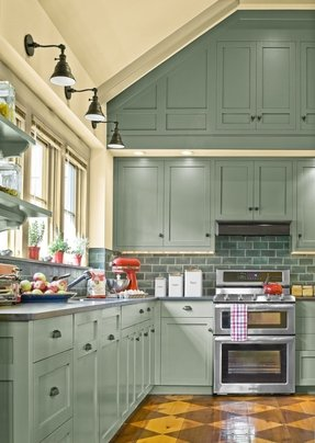 Green cabinets foter for Brushed sage kitchen cabinets