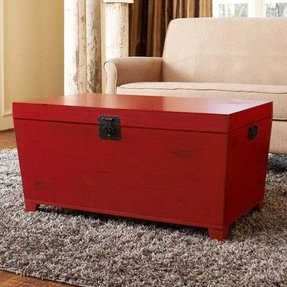 Angelo home red pyramid trunk coffee table
