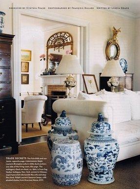 Large Vine Chinese Asian Garden Stool Blue White Dragons Hand Incised Artwork